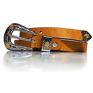 almela - Cinturón mujer fino Cowboy - Hebilla moda vintage estilo vaquero - Piel legitima -2 cm de ancho - Cuero - 20mm… | DeHippies.com