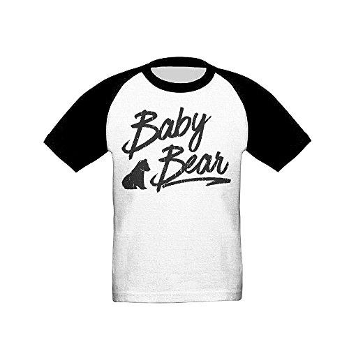 GuiH Baby Bear Boys & Girls Baby Raglan Soft 100% Cotton T-Shirts Unisex Black 4 Toddler