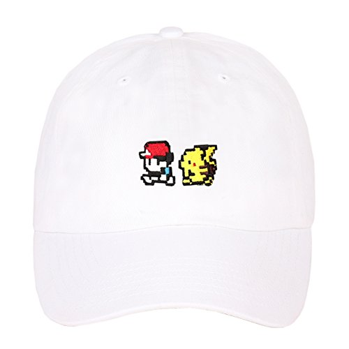 Exclusive Embroidered Pixelated Pokemon Character Logo Strapback Baseball Dad Hat (White) - Exclusive Cap Hat