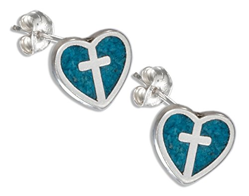 Sterling Silver Faux Turquoise Heart & Cross Earrings Stainless Steel Posts (Sterling Cross Silver Turquoise Earrings)