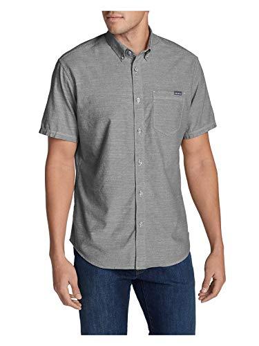 Eddie Bauer Men's Grifton Short-Sleeve Shirt - Solid, Chrome Regular S ()