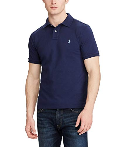 Polo Ralph Lauren Mens Custom Fit Mesh Polo Shirt (Navy, Small)