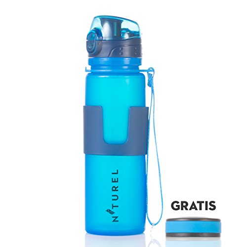 Nturel Foldable Water Bottle – With Free Additional Cap – Collapsible food grade silicone, 16 oz. … (Blue)