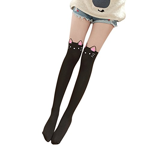 Imixcity Women Cute Cartoon Animal Mock Knee High Pantyhose Socks Pink Ears Cat (Cartoon Tights For Women)