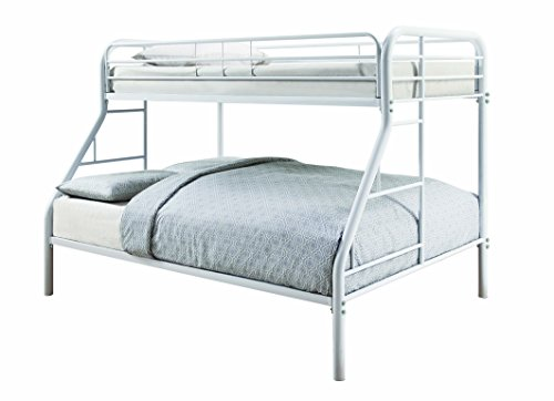 - Coaster 460378W-CO Metal Twin and Full Bunk Bed, White Finish