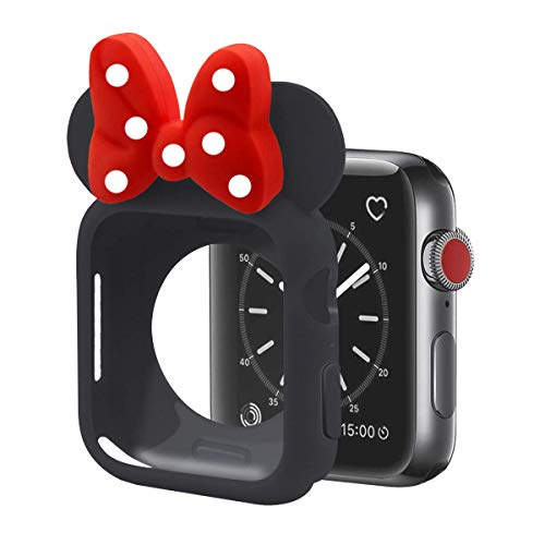 Cute Cartoon Soft Silicone Protective Frame Anti-Scratch Cover| Case Disney Character Minnie Mouse Ears Compatible with Apple Watch Series 4 and Series 3 (Black - Red, 38mm or 40mm)