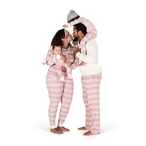 Burt's Bees Baby Big Family Jammies, Fair Isle Ivory, Holiday Matching Pajamas, 100% Organic Cotton, Red, Kids Medium (8/10)