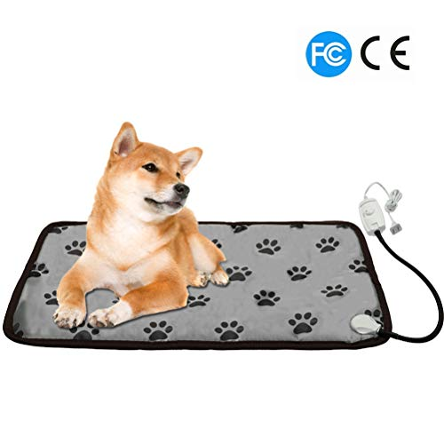 PUPTECK Pet Heating Pad – Dog Cat Electric Heated Pads - Waterproof & Chew Resistant Mat for Indoor Grey Large