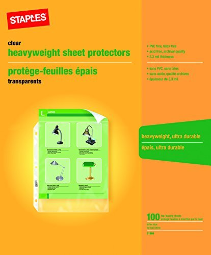 Staples Heavy-Duty Sheet Protectors 100 sheets letter size (Business Staples Cards)