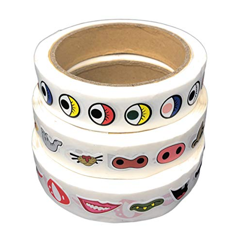 Rusoji Mini Colorful Cute Cartoon Eye, Nose, and Mouth Decal Stickers for Coloring Books, Notebook Decor, Party Favor, DIY Projects, 3 rolls/3000 pcs