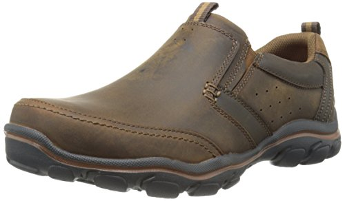 Skechers USA Men's Montz Devent Slip-On Loafer,Dark Brown,9 M US