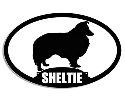 Oval SHELTIE Silhouette Sticker (dog breed)- Sticker Graphic Decal
