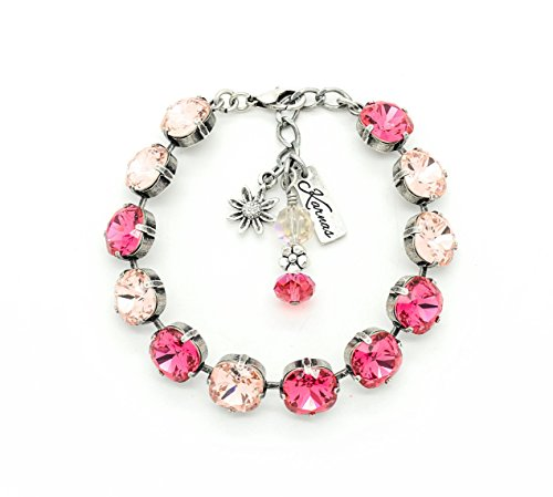 PINK ROSE PETALS 10mm Cushion Cut Bracelet Made With Swarovski Elements *Antique Silver *Karnas Design Studio