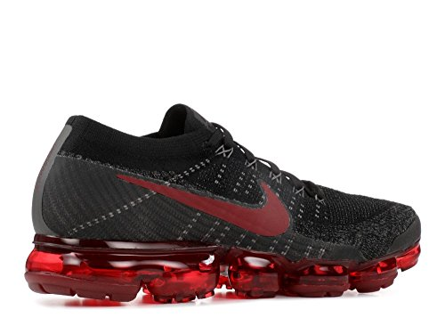 Nike Heren Lucht Vapormax Flyknit Loopschoenen Zwart / Donker Team Red-midnight Fog-gym Rood