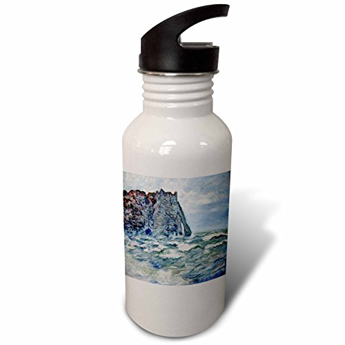 1883 Rough (3dRose FabPeople - Claude Monet Portraits - Port d Aval, Rough Sea, Claude Monet Painting 1883, PD-US - Flip Straw 21oz Water Bottle (wb_179239_2))