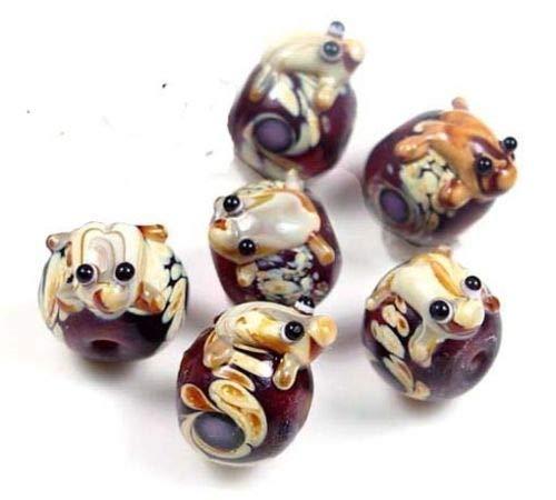 ShopForAllYou Beads Lampwork Handmade Glass Frog Hug Ball Amber Taffy Swirl Beads (6)