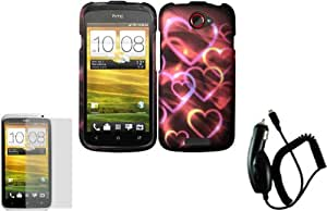 Colorful Hearts Design Hard Case Cover+LCD Screen Protector+Car Charger for T-Mobile HTC One S
