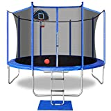 12FT Trampoline with Basketball Hoop,Enclosure Net,Jumping Mat,Spring Pad,Wind Stakes,Pull T-Hook and Ladder-Including All Accessories-Trampoline for Kids