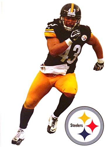 Troy Polamalu Mini FATHEAD Pittsburgh Steelers Official NFL Vinyl Wall Graphic 7 inch by Fathead