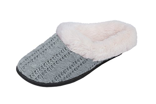 Beverly Cable Scuff Plush Lazy House Slipper Faux Knit Fur Womens Grey Rock pqgEwFr0p