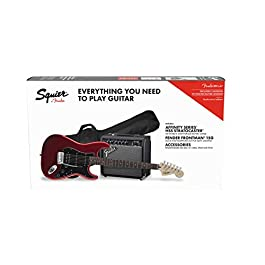 Squier by Fender Affinity Stratocaster Beginner Pack, Laurel Fingerboard, Candy Apple Red, with Gig Bag, Amp, Strap…