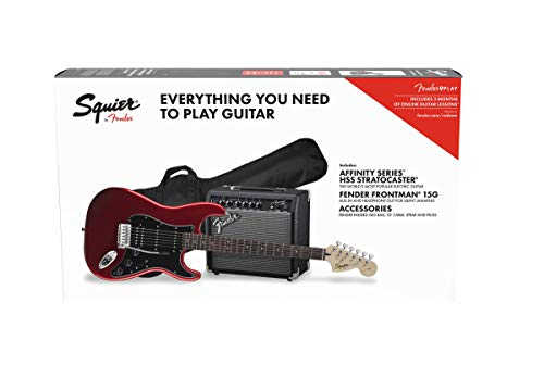 - Squier by Fender Affinity Stratocaster Beginner Pack, Laurel Fingerboard, Candy Apple Red, with Gig Bag, Amp, Strap, Cable, Picks, and Fender Play