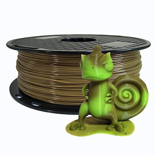 Color Change Brown to Green PLA 1.75 mm 3D Printer Filament Dimensional Accuracy +/- 0.05 mm 1 KG Spool (2.2 LBS) 3D Printing PLA Material Color Changing with Temperature