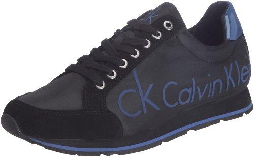 Calvin Klein - Randy Nylon Ck Logo/Suede/Patent, Sneakers uomo, color Nero (Bmr), talla 46 EU
