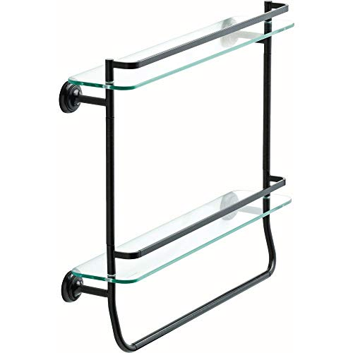 20 in. Glass Double Shelf with Towel Bar in Venetian Bronze