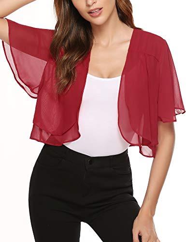 - Aibrou Women Short Ruffle Sleeve Sheer Bolero Shrugs Chiffon Cardigans for Dresses