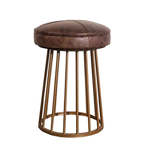 QQXX Footstool, American Antique Industrial Rustic Distressed Metal Bar Stool/Ottomans Cast Iron Base Circle/Square(Brown Bonded Leather) (Color : A)