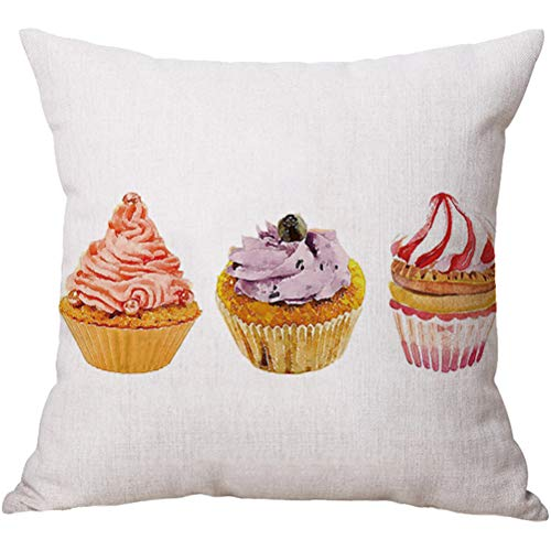(YJBear Cotton Linen Delicious Butter Cream Cup Cake Print Square Pillow with Invisible Zipper Cotton Linen Decorative Cushion Throw with Filler Home Decor for Bench/Couch/Sofa Blue 18 X 18'')