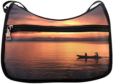 A Man Rowing A Boat Messenger Bag Crossbody Bag Large Durable Shoulder School Or Business Bag Oxford Fabric For Mens Womens
