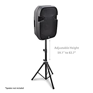 """Universal Speaker Stand Mount Holder - Heavy Duty Rubber Capped Tripod w/ Adjustable Height from 59.1"""" to 82.7"""" Locking Safety PIN & 35mm Compatible Insert On-Stage or In-Studio Use - Pyle PSTND1 from Sound Around"""