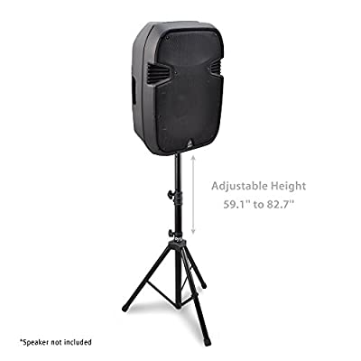"Universal Speaker Stand Mount Holder - Heavy Duty Rubber Capped Tripod w/ Adjustable Height from 59.1"" to 82.7"" Locking Safety PIN & 35mm Compatible Insert On-Stage or In-Studio Use - Pyle PSTND1 from Sound Around"