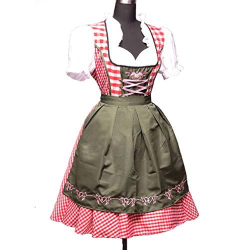Carnaval Oktoberfest Blouse Fete Dirndl Traditionelle de Tablier Robe avec Robe Courtes E pour pour Bavire Dirndl Manches Couleur D'Octobre et Femme OxwpUaFZcP