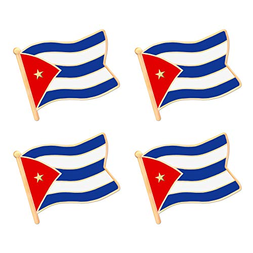 ALEY Cuba Cuban Flag Lapel Pin Decorations (4 Pack)