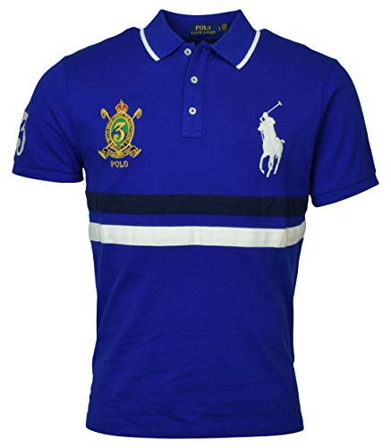 Polo Ralph Lauren Mens Big Pony Custom Slim Fit Mesh Crest Polo (Small, Royal Blue)