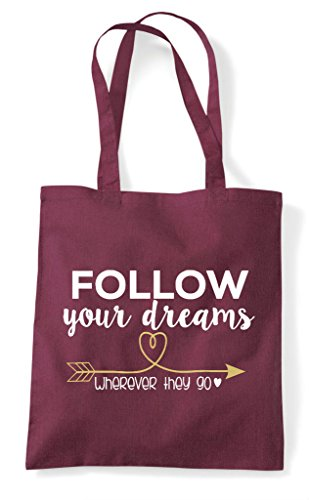 Dreams They Your Wherever Bag Burgundy Shopper Go Follow Tote F5SqOO