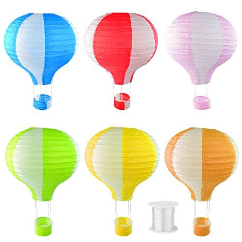 Lee-Buty 6pcs Hanging Paper Lanterns Hot Air Balloon Shape Lanterns with 1 Piece of Hanging Line for Party Birthday Wedding Christmas Decoration]()