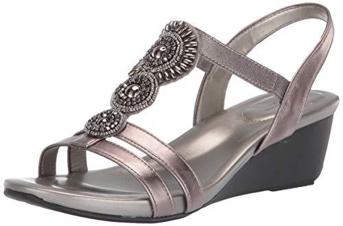 (Bandolino Women's Hartley Wedge Sandal, Pewter, 8 Medium US)