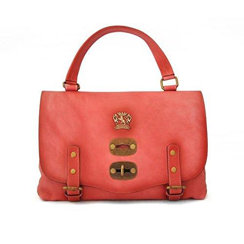 Pratesi Toscana envejecido cuero italiano Piccola Satchel Tote Grab bolsa de hombro (rosado) rosado
