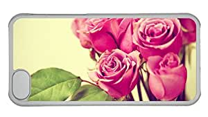 Hipster crazy iPhone 5C covers grunge pink roses PC Transparent for Apple iPhone 5C