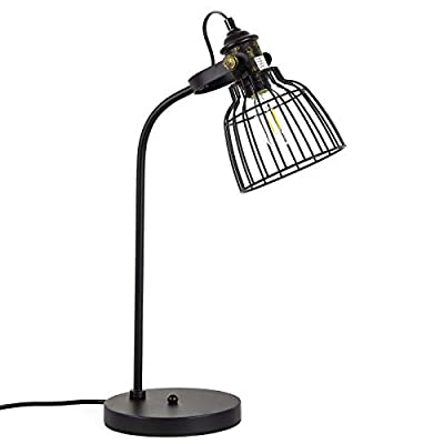 Vintage Table Retro Lamp, Industrial Wrought Iron Desk Lamp with Antique Accent, E26 Base Rustic Matte Black Lamp Holder Table Light Fixture Loft Decoration for Bar, Farmhouse