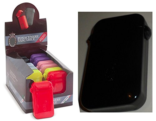Taschenaschenbecher Portable ASHTRAY Italian patent design verschiedenen farben helle farben (Black)