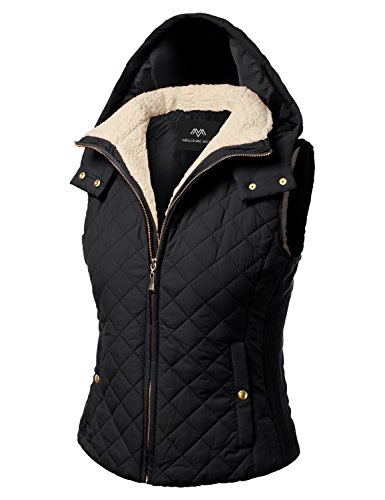 Lined Quilted Faux Shearling Hoodie Padding Vest Jackets Black (Hooded Black Shearling Coat)