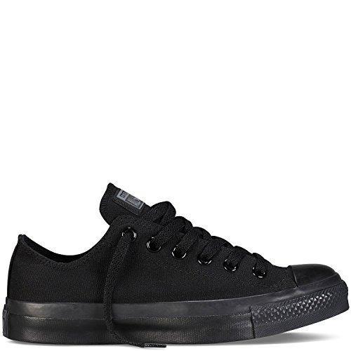 (Converse Unisex Chuck Taylor All Star Ox Low Top Classic Monochrome Black Sneakers - 7.5 B(M) US Women / 5.5 D(M) US Men )