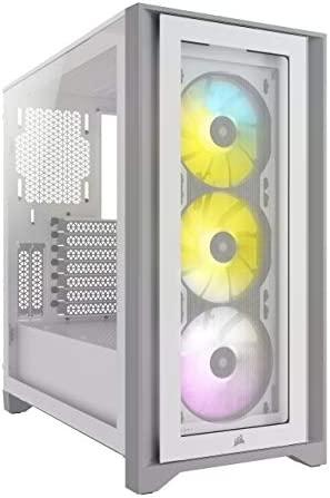Corsair iCUE 4000X RGB Mid-Tower ATX PC Case – White