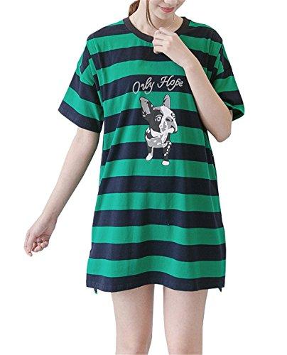 FONLONLON Donna T-Shirt Partorire Allattamento Sciolto Bluse Manica Corta Casual Superiori Premaman Lungo Rotondo Collo Elegante Camicie A Righe Moda Maglietta Green