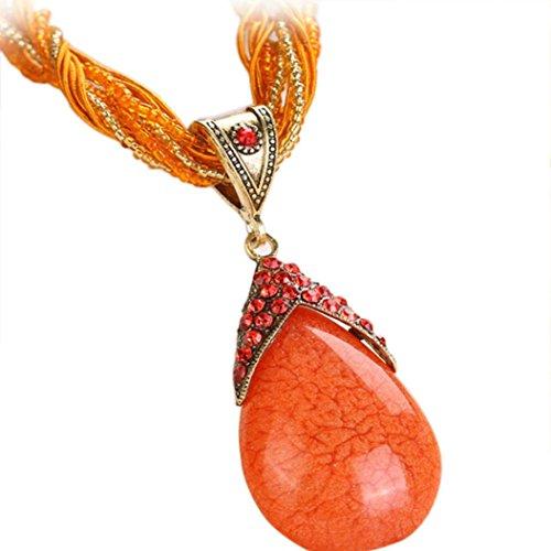 Clearance!! WYTong Women Rhinestone Amber Gem Jewelry Necklaces Bohemian Pendant Collar Necklace (Orange)
